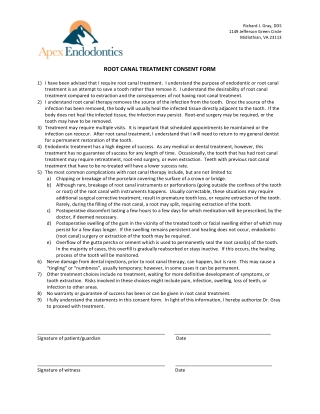 ROOT	CANAL	TREATMENT	CONSENT	FORM