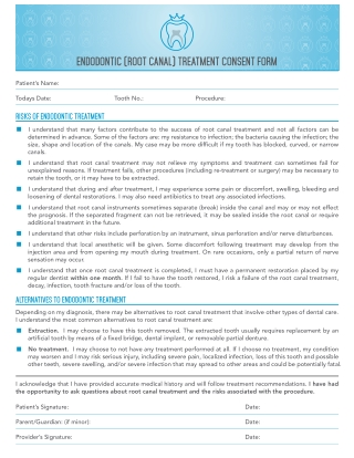 ENDODONTIC (ROOT CANAL) TREATMENT CONSENT FORM