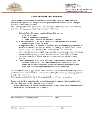 Consent for Endodontic Treatment