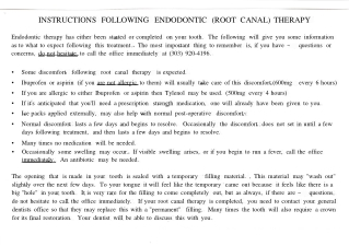 INSTRUCTIONS FOLLOWING ENDODONTIC (ROOT CANAL) THERAPY