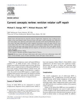 Current concepts review: revision rotator cuff repair
