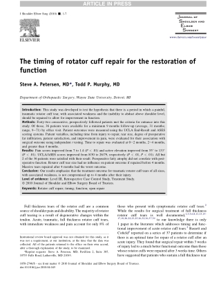 The timing of rotator cuff repair for the restoration of function