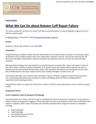 What We Can Do about Rotator Cuff Repair Failure