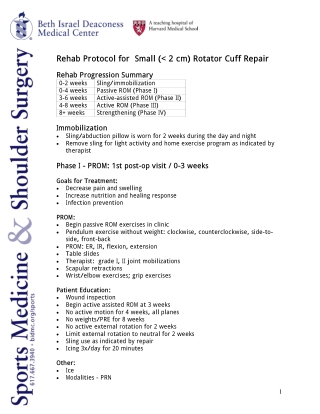 Rehab Protocol for Small (< 2 cm) Rotator Cuff Repair