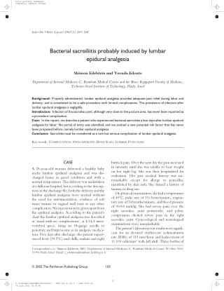 Bacterial sacroiliitis probably induced by lumbar epidural analgesia