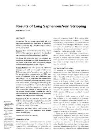 Results of Long Saphenous Vein Stripping