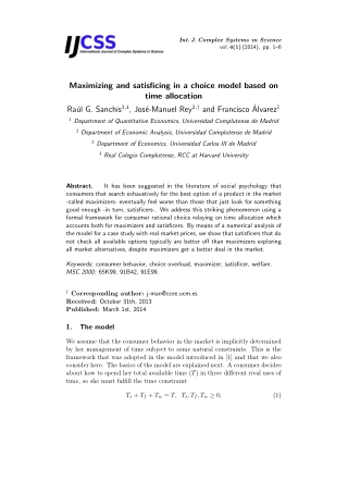 Maximizing and satisficing in a choice model based on time allocation
