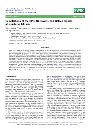 Scintillations of the GPS, GLONASS, and Galileo signals at equatorial latitude