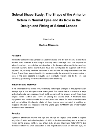 Scleral Shape Study: The Shape of the Anterior Sclera in Normal Eyes and its Role in the Design and Fitting of Scleral Lenses