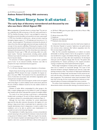 The Stent Story: how it all started