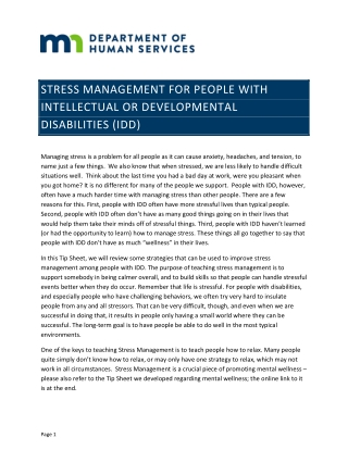 STRESS MANAGEMENT FOR PEOPLE WITH INTELLECTUAL OR DEVELOPMENTAL DISABILITIES (IDD)