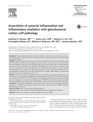 Association of synovial inflammation and inflammatory mediators with glenohumeral rotator cuff pathology