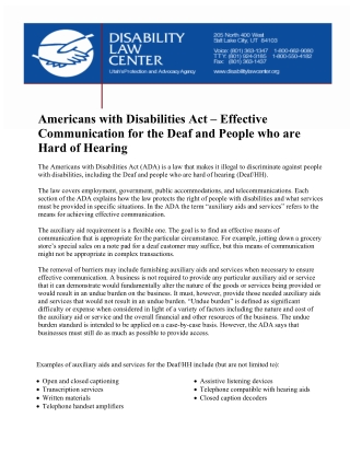 Americans with Disabilities Act – Effective Communication for the Deaf and People who are Hard of Hearing