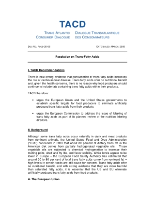 Resolution on Trans-Fatty Acids I. TACD Recommendations