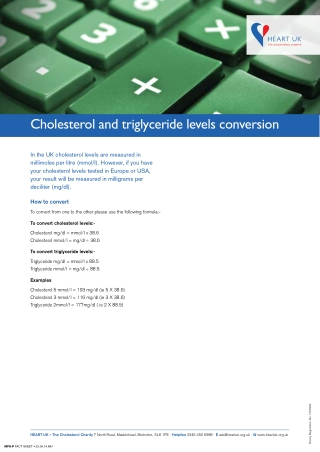 Cholesterol and triglyceride levels conversion