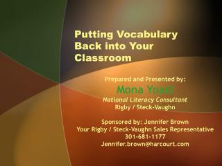 Returning Vocabulary to Your Classroom