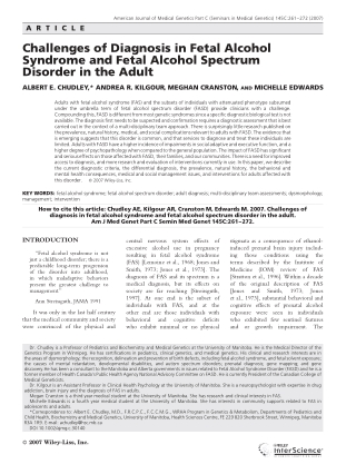 Challenges of Diagnosis in Fetal Alcohol Syndrome and Fetal Alcohol Spectrum Disorder in the Adult
