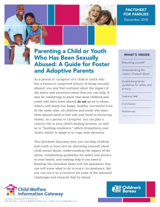 Parenting a Child or Youth Who Has Been Sexually Abused: A Guide for Foster and Adoptive Parents