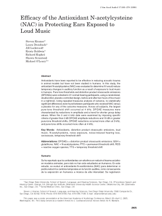 Efficacy of the Antioxidant N-acetylcysteine (NAC) in Protecting Ears Exposed to Loud Music