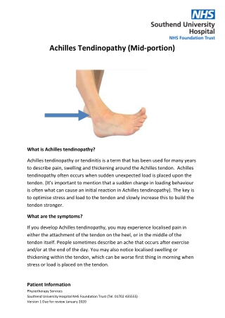 Achilles Tendinopathy (Mid-portion)