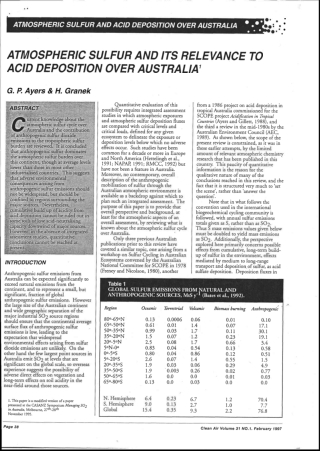 ATMOSPHERIC SULFUR AND ITS RELEVANCE TO ACID DEPOSITION OVER AUSTRALIA'