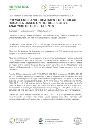 PREVALENCE AND TREATMENT OF OCULAR ROSACEA BASED ON RETROSPECTIVE ANALYSIS OF OUT–PATIENTS