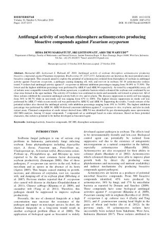 Antifungal activity of soybean rhizosphere actinomycetes producing bioactive compounds against