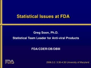 Factual Issues at FDA