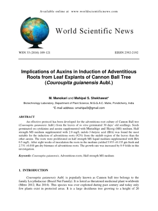 Implications of Auxins in Induction of Adventitious Roots from Leaf Explants of Cannon Ball Tree (