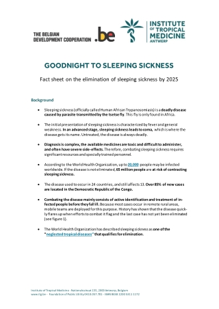 GOODNIGHT TO SLEEPING SICKNESS
