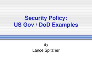 Security Policy: US Gov