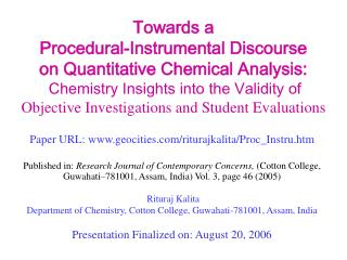 Towards a Procedural-Instrumental Discourse on Quantitative Chemical Analysis: Chemistry Insights into the Validity o