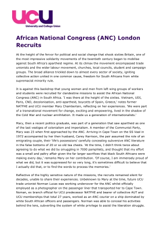 African National Congress (ANC) London Recruits