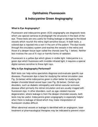 Ophthalmic Fluorescein & Indocyanine Green Angiography