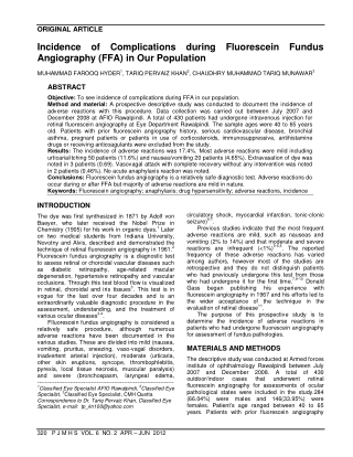 Incidence of Complications during Fluorescein Fundus Angiography (FFA) in Our Population