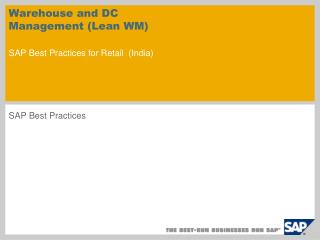 Distribution center and DC Management Lean WM SAP Best Practices for Retail India
