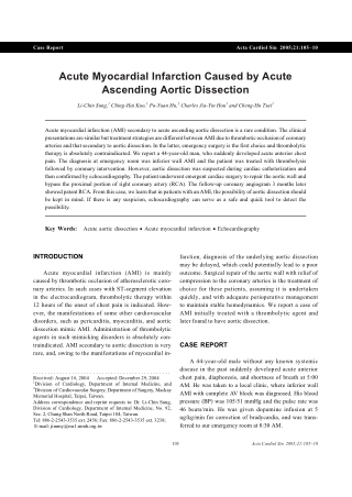 Acute Myocardial Infarction Caused by Acute Ascending Aortic Dissection