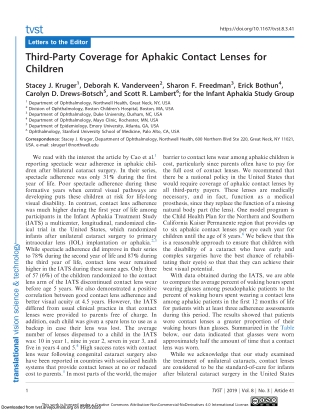 Third-Party Coverage for Aphakic Contact Lenses for Children