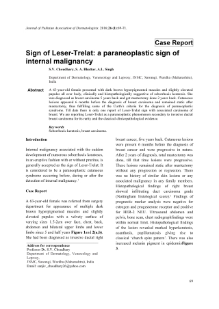 Sign of Leser-Trelat: a paraneoplastic sign of internal malignancy