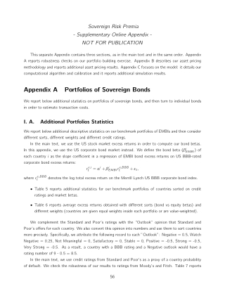 Appendix A Portfolios of Sovereign Bonds