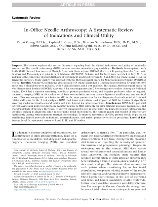 In-Office Needle Arthroscopy: A Systematic Reviewof Indications and Clinical Utility