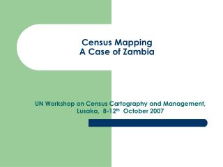 Statistics Mapping A Case of Zambia