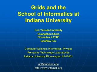 Networks and the School of Informatics at Indiana University