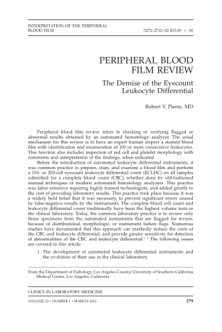 PERIPHERAL BLOOD FILM REVIEW