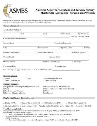 American Society for Metabolic and Bariatric Surgery Membership Application - Surgeon and Physician
