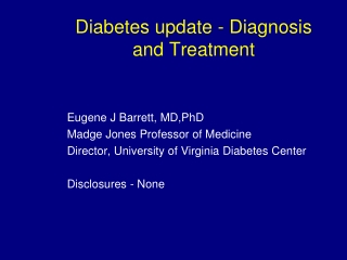 Diabetes update - Diagnosis