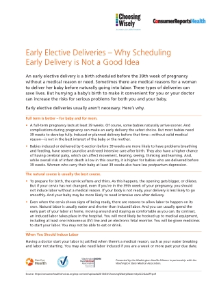 Early Elective Deliveries – Why Scheduling Early Delivery is Not a Good Idea