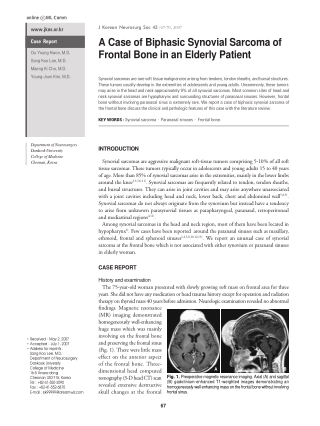 A Case of Biphasic Synovial Sarcoma of Frontal Bone in an Elderly Patient