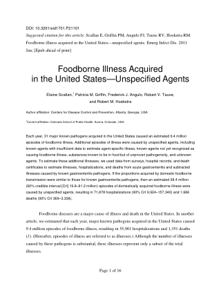Foodborne Illness Acquired in the United States—Unspecified Agents