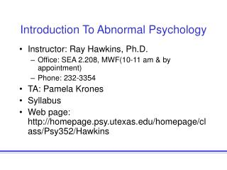 Prologue To Abnormal Psychology